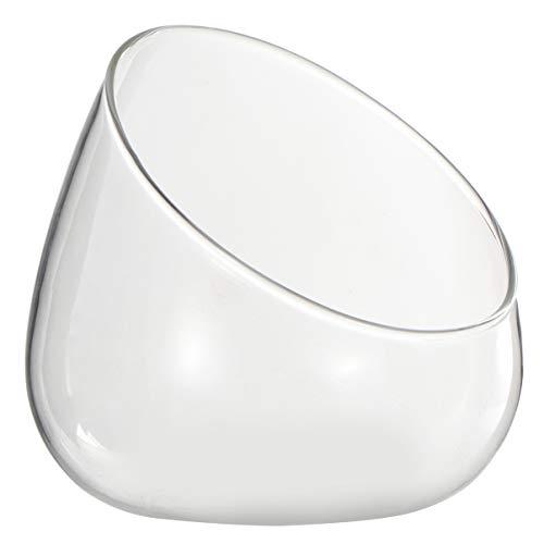 Hemoton - Cuenco de cristal oblicuo redondo para tarro o terrario inclinado, jarrón con flor, para velas, flores, caramelos, casa, boda, centro de mesa