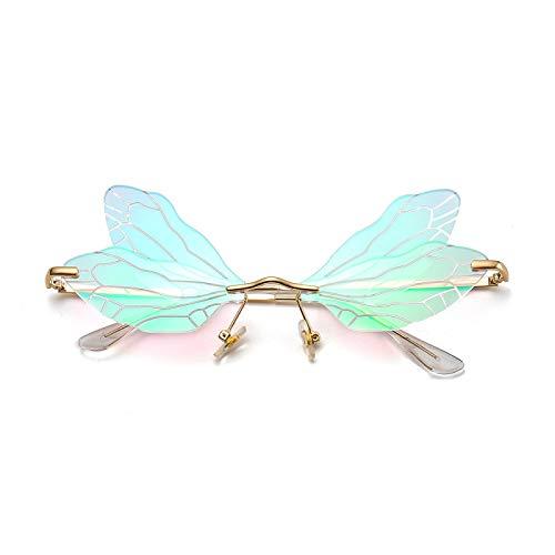 Huir Gafas de sol de ala de libélula sin montura para mujer, estilo vintage, transparente, lentes de océano, gafas de sol, color rosa, gran regalo para tus amigos y familia, Oro y verde.,