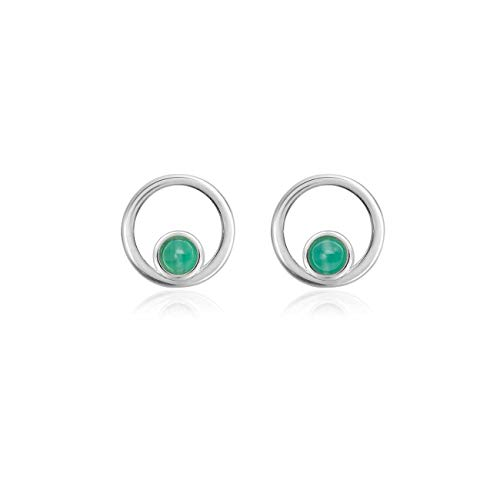 Katie Loxton August Sincere & Wise Silver Plated Womens Stud Earrings Birthstone Green Aventurine Color