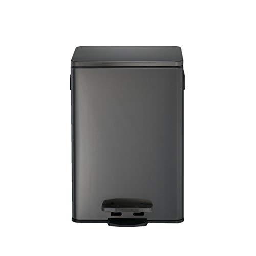HeWHui La basura de la cocina puede, de tipo pie de acero inoxidable del cuadrado del bote de basura de la basura silencioso baño dormitorio puede Oro Plata multifunción Papelera Cubos de reciclaje