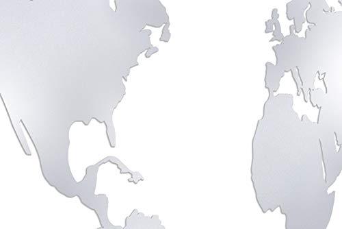 KTC Tec Mapa del mundo grande de acero inoxidable XXL para salón, pared World Map lienzo decoración consultas médicas consultas médicas plata pulverizada magnética 100 x 50 cm