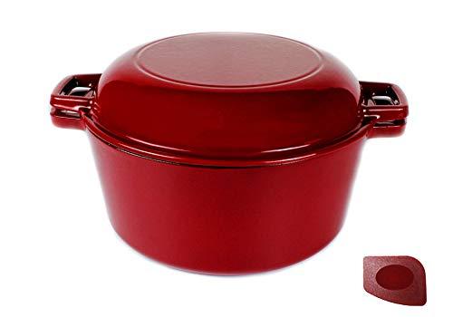 Pinnacle-Cookware – Double cocotte en fonte émaillée rouge avec couvercle à poêle 4,73 litres/5 Quart, pour plaques à gaz/électrique/induction, passe au four, cuisson extérieure – 6 kg