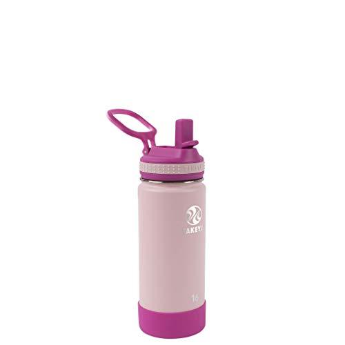 Takeya Garrafa de água isolada infantil com tampa de canudo, 473 g, blush/rosa