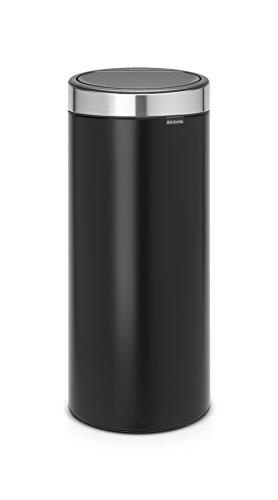 Brabantia - 115448 - Poubelle Touch Bin Unie New, 30 L - Noir Mat avec Couvercle Anti-traces de Doigts