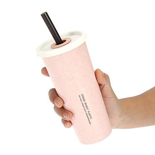Taza de paja de trigo, multifuncional 470 ml, sin fugas, taza de paja de trigo, para el hogar, la oficina, al aire libre, uso para niños, adultos, cafetería(Pink)