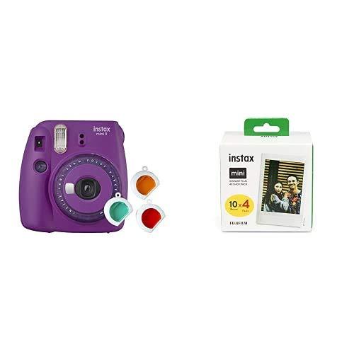 Oferta de Fujifilm Instax Mini 9 - Cámara instantanea, Morado + Pack de 40 películas