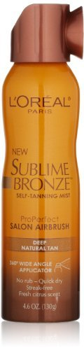 L'Oreal Paris Sublime Bronze Pro Perfect Salon Airbrush Self-Tanning Mist - Deep Natural Tan 4.6 oz. (Pack of 3)