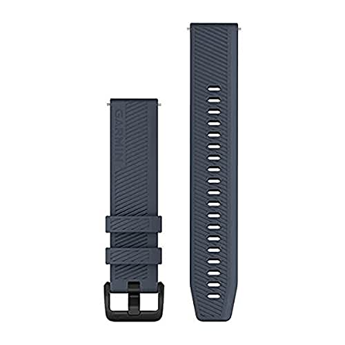 Garmin Correa de reloj de liberación rápida 20, silicona azul granito con hardware de acero inoxidable negro, (010-13076-01)