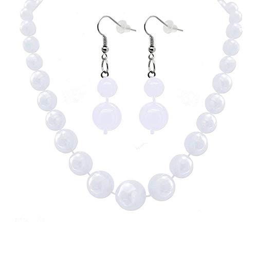 tumundo Set de 2 Joyería aretes Pendientes + 1 Collar Cadena para Mujeres Pendientes de Perla Blanca, roja