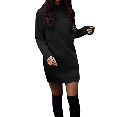 Damen Sweatshirts Lange Pullover Kleid Winter Herbst Pulli Kleid Mode Langarmshirt Basic T Shirt Kleid Langarm Oberteile Tops Lässig Bodycon Kleid (XL, Schwarz)