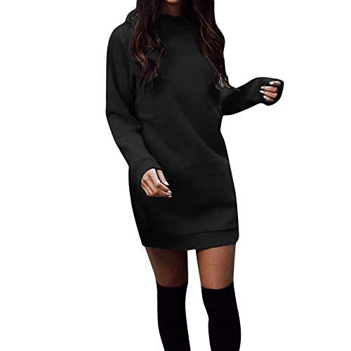 Damen Kleider,Elegant Strickkleid Pullikleid Wasserfallausschnitt Langarm Sweaterkleider,Winter Warm Longpullover Freizeitkleid Dasongff Einfarbig Bodycon Kleid