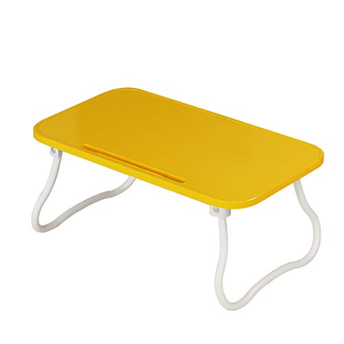 CHGDFQ Escritorio plegable de plástico para ordenador, para dormitorio o dormitorio, 31 x 54 x 23 cm, color amarillo
