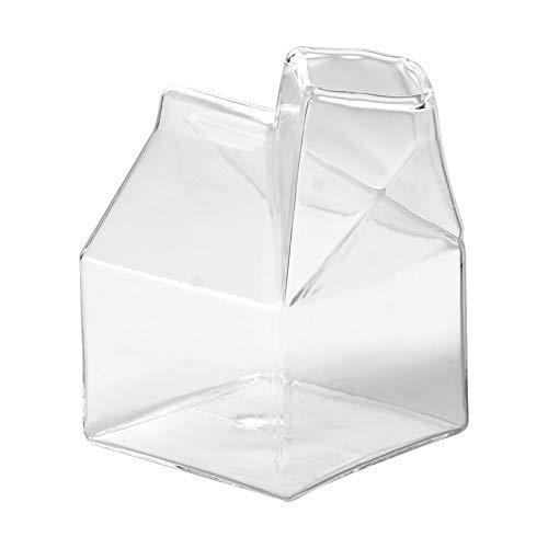 Taza de vidrio de leche transparente de 250 ml, novedad, bonita forma de casa, taza de vidrio de leche de café transparente, contenedor de vertido, botella de agua, cartón
