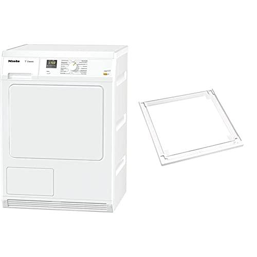 Miele TDA 150 C Kondenstrockner / 7 kg Schontrommel/punktgenaue Trocknung - Perfect Dry & Trocknerzubehör/Wasch-Trocken-Verbindungssatz für sichere und Aufstellung einer Wasch-Trocken-Säule
