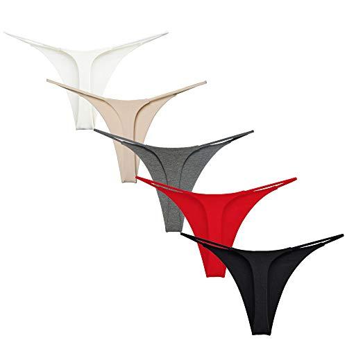 Acramy Damen Unterhosen Baumwolle String Unterwäsche Thong Tanga, 5er Pack (Gruppe A, M)