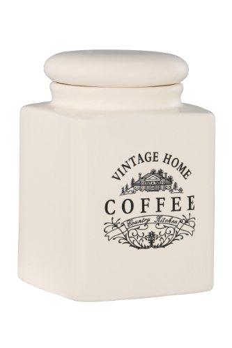 Premier Housewares Vintage Home Quadratische Kaffeedose, groß, Keramik, rahm, 11x11x16