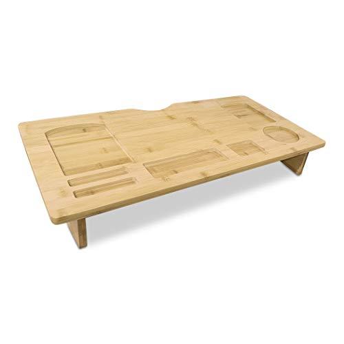Mediawave Store - Soporte para monitor de ordenador portátil, mesa para ordenador portátil de bambú, organizador de ordenador con 7 ranuras de diferentes tamaños y formas, multifunción de madera