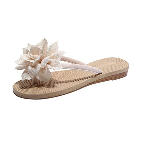 Happyyami Chanclas de Mujer Bohemia T-Strap Señoras Verano Pisos Sandalias Grandes Flores Zapatillas de Playa