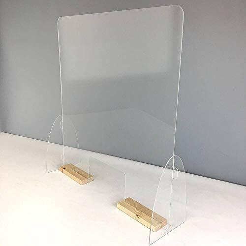 Mampara mostrador. Pantalla de protección. Separador transparente para Farmacias, supermercados, recepciones, hoteles, tiendas y comercios. Ancho 71 cm y Alto 75 cm (Peanas color blanco)