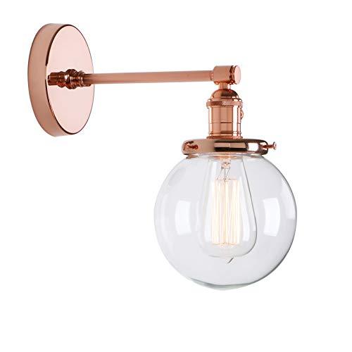 Phansthy innen Modernes runde klarglas Wandbeleuchtung Wandleuchten Vintage Industrie Loft-Wandlampen Antik Deko Design Wandbeleuchtung Küchenwandleuchte im Landhausstil (Kupfer Farbe)