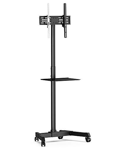FITUEYES TV Ständer mit Rollen TV Wagen Fernsehständer mit Ablage Rollbar Höhenverstellbar...