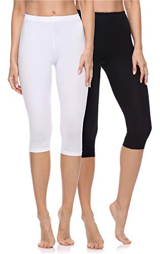 Merry Style Damen 3/4 Leggings Fitnesshose aus Baumwolle 2 Pack MS10-199 (Schwarz/Weiß, L)