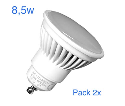 Pack 2x GU10 LED 8,5w Potentisima. Color Blanco Neutro (4500k). 970 lumenes reales.