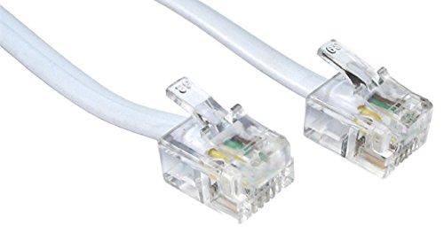 rhinocables Hochgeschwindigkeits-RJ11 ADSL-Kabel Premium Qualität führen High Speed Stecker BT Internet Breitband Modem Router Telefon Draht (5m, Weiß)