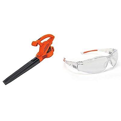 BLACK+DECKER Electric Leaf Blower, 7-Amp with Safety Eyewear, Lightweight, Clear Lens (LB700 & BD250-1C)