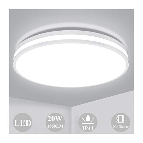Lámpara de Techo 20W, Öuesen Plafon LED de Techo 4000K Blanco Natural 1850LM Impermeable IP44 Equivalente 150W LED Plafón para...