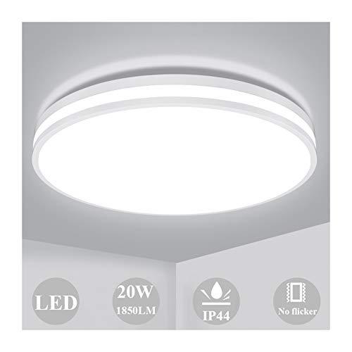 Öuesen Deckenlampe 20W, LED Deckenleuchte Bad 4000K Naturweiß Lampe, 1850LM Rund Leuchten für Badzimmer Wohnzimmer Korridor Küche Balkon, Wasserfest IP44