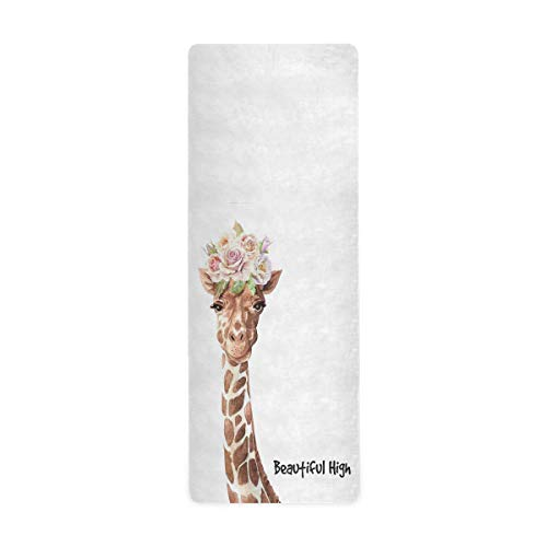 "Qilmy Watercolor Roses Giraffe Yoga mat,Best No-Slip Hot Yoga Mat, No-Toxic,TPE Yoga mat,Ideas for Exercise,Yoga and Pilates(71""x26""X 1mm)"