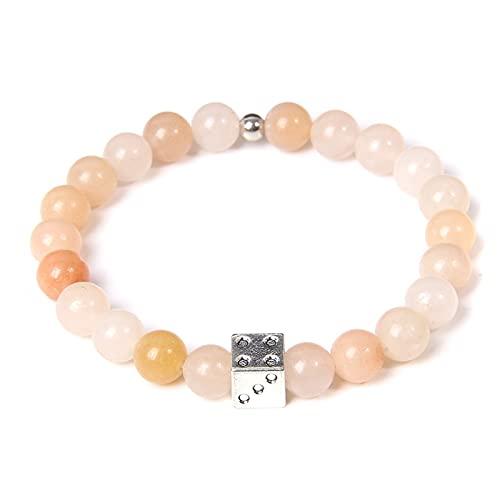 Natural Stone Mookaite Bracelets Silve-plated Dice Charm Bangle Women Handmade Elastic Bracelet For Couple Jewelry Birthday Gift
