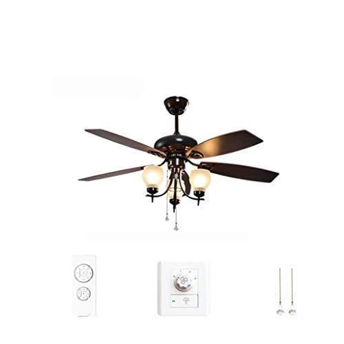 Plafondventilator Morea van metaal/hout/glas in oud messing/bruin, plafondlamp met ventilator met 2 trekkoorden in 3 standen schakelbaar, draaibare rotorbladen, geschikt voor zomer en winter