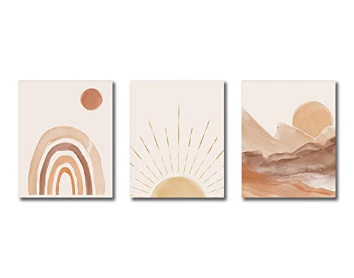 """Modern Art Abstract Mountains And Sun Boho Art Painting Set of 3 (8""""X10"""" Canvas Picture) Mid-Century Living Room Decor SPA Bathroom Bedroom Decor Office Decor Kitchen Decor Home Decor Frameless"""