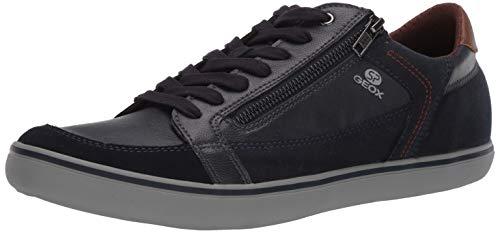 Geox U843AA 054AU C4002 - Zapatos con Cordones de Piel Lisa Hombre, Color Azul, Talla 45 EU