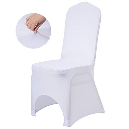 Z ZELUS Universal Stuhlhussen 100 Stück Stuhlbezüge Stuhl Husse Stuhlbezug Stuhlüberzug Stretch Moderne Stuhlabdeckung Weiß für Hochzeiten Feiern Party (Bogenstil 100 Stück)
