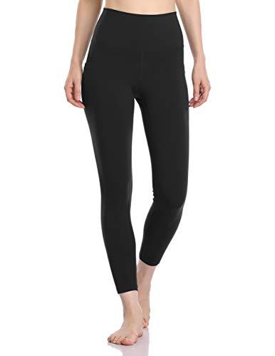 Colorfulkoala Women s High Waisted Yoga Pants 7 8 Length Leggings with Pockets (M, Black)