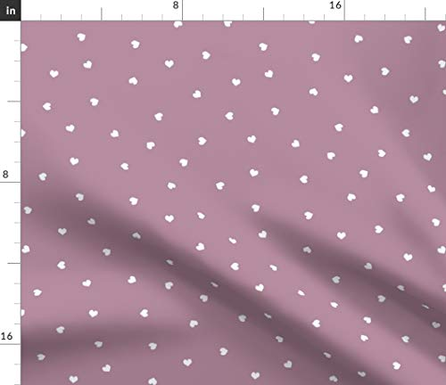 Spoonflower Fabric - Mini Hearts Baby Trendy Valentines Mauve Heart Earthy Printed on Petal Signature Cotton Fabric by The Yard - Sewing Quilting Apparel Crafts Decor