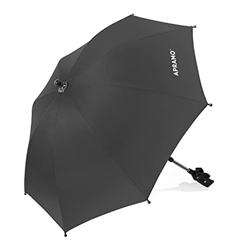 APRAMO universal Sonnenschirm Regenschirm für Kinderwagen & Buggy, UV Schutz 50+ Sonnenschutz wasserabweisend, 76cm Durchmesser mit Gerader Schirmgriff