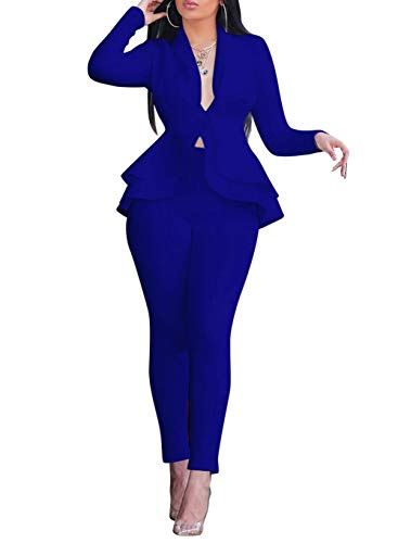 Salimdy Sexy 2 Piece Outfits for Women Long Sleeve Solid Blazer with Pants Casual Elegant Business Suit Sets Blue S