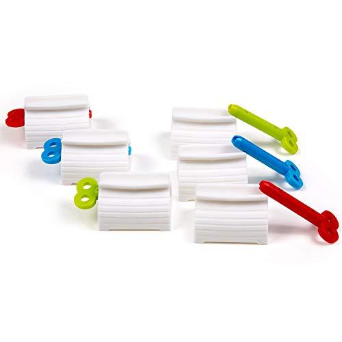 Apretadores de Tubos, Comius Sharp 6 Piezas Exprimidor de Tubos de Plástico para Pasta de Dientes Pintar Cabello Colorante, Soporte de Pasta de Dientes Exprimidor de Giratorio para Baño