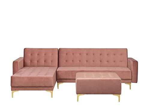 Canapé d'angle Rose Tissu Confort