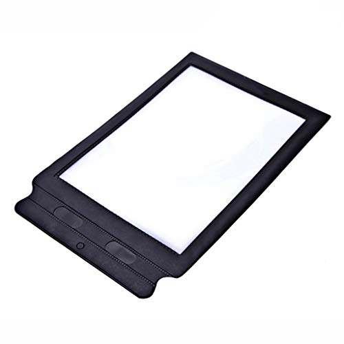 Fine A4 Magnifier,Full Page Large Sheet Magnifying Glass Reading Aid Lens Reading Magnifier 3X Magnification for The Elderly (Black)