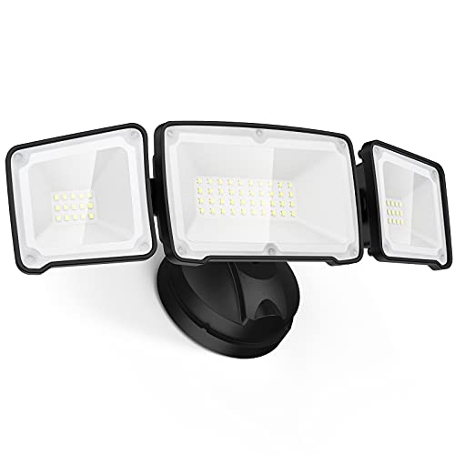 LEPOWER 35W LED Security Light, 3500LM Outdoor Flood Light Fixture, Exterior Lights with 3 Adjustable Heads, 5500K, IP65 Waterproof for Garage, Yard, Porch (Black)
