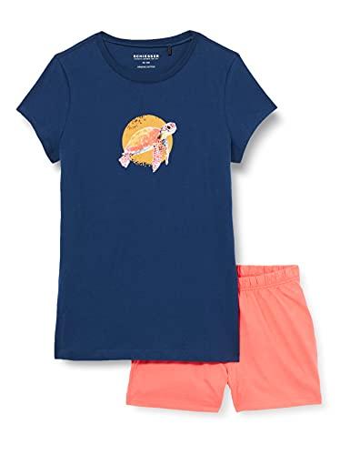 Schiesser Mädchen Schlafanzug kurz Pyjamaset, dunkelblau, 164