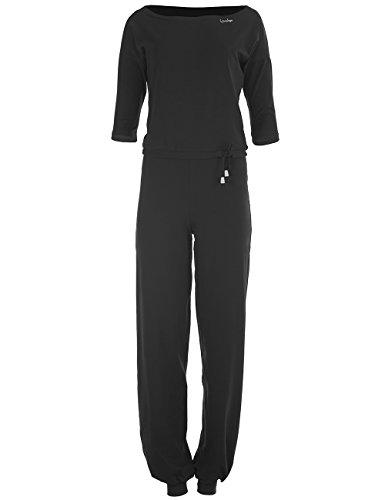 WINSHAPE Damen 3/4-Arm-Jumpsuit WJS2, Fitness Freizeit Sport Yoga Pilates Jumpsuit, schwarz, L