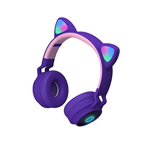 ZRL Cascos Gaming Auriculares Bluetooth Auriculares para Las Orejas del Gato TF Tarje y Led Light Interprada Mice Fotble Audiciones Directores Modo Cableado Headset