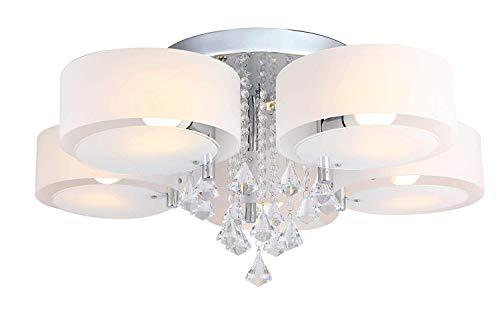 HENGMEI Kristall Deckenleuchte LED Deckenlampe Kronleuchter E27 RGB+Warmweiß Hängeleuchten Wohnzimmer 5 flammig für Wohnzimmer, Schlafzimmer (35W, 5 flammig)
