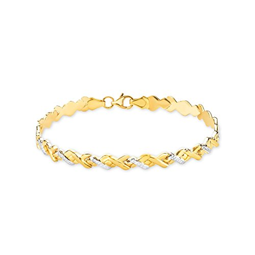 Amor, bracciale da 19cm, bicolore, da donnain oro giallo 333